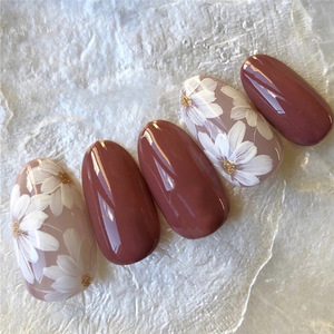 24pcs Bean Paste Color Decor Flower Full Cover Wedding Bride Full Nails Tips Artificial Nails Art Patches With Glue For Girls(China)