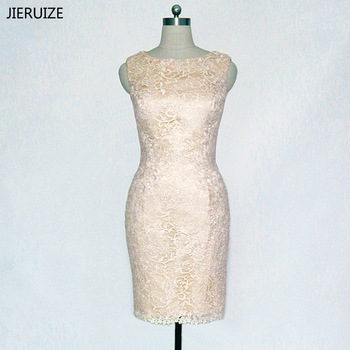 JIERUIZE robe de soiree Champagne Lace Short Evening Dresses Formal Dresses Knee Length Mother of the Bride Dresses abendkleider