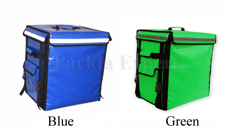 Azul com O LOGOTIPO Alimentos transportadora Mochila