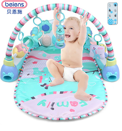 Beiens Baby 3 in 1 Play Rug Develop Crawling Children's Music Mat with Keyboard Infant Fitness Carpet Educational Rack Toys pad