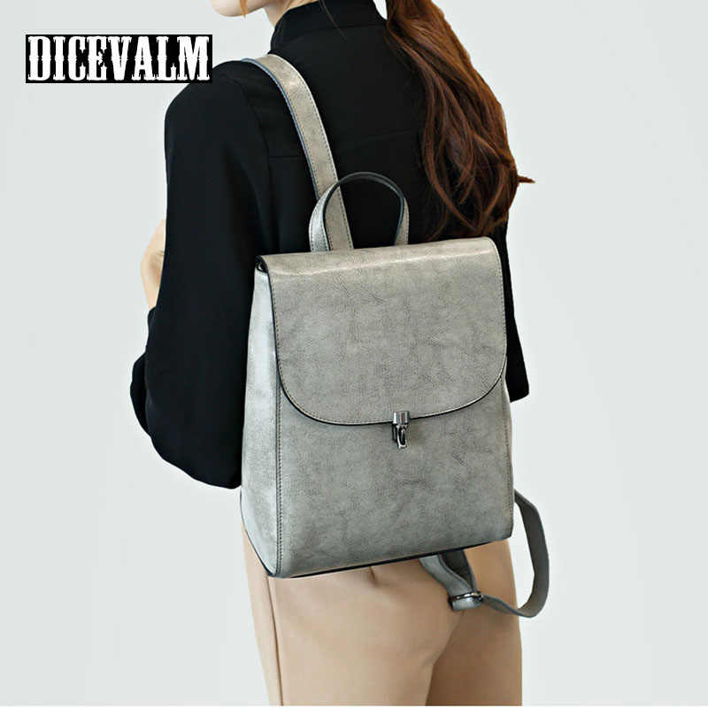 2019 Ladies' Genuine Leather School Bags For Teenage Girls Shoulder Bag Women Backpack Female Small High Quality Daypack Brands