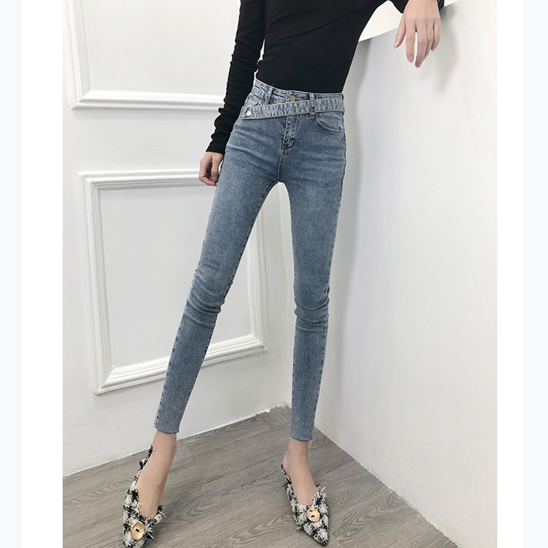 JUJULAND  Jeans Female Denim Pants Gray&blue Color Sashes Donna Stretch Bottoms Skinny Pants For Women Trousers 1008