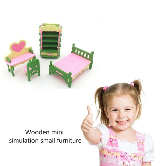 Kids Pretend Role Play House Wood Toy Set Kitchen Babies Room Living Room Mini Ornaments Toys Kit Birthday Gift 2