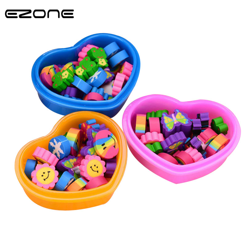 EZONE 1Box Cartoon Eraser Mini Kawaii Butterfly Shape Rubber Eraser With Loving Heart Box Kid Gift Stationery Material Escolar