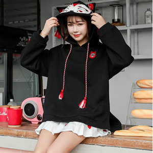 Image 2 - Merry Pretty Women Harajuku Embroidery Hooded Sweatshirts Long Sleeve Black White Drawstring Hoodies 2020 Sweet Girls Pullovers