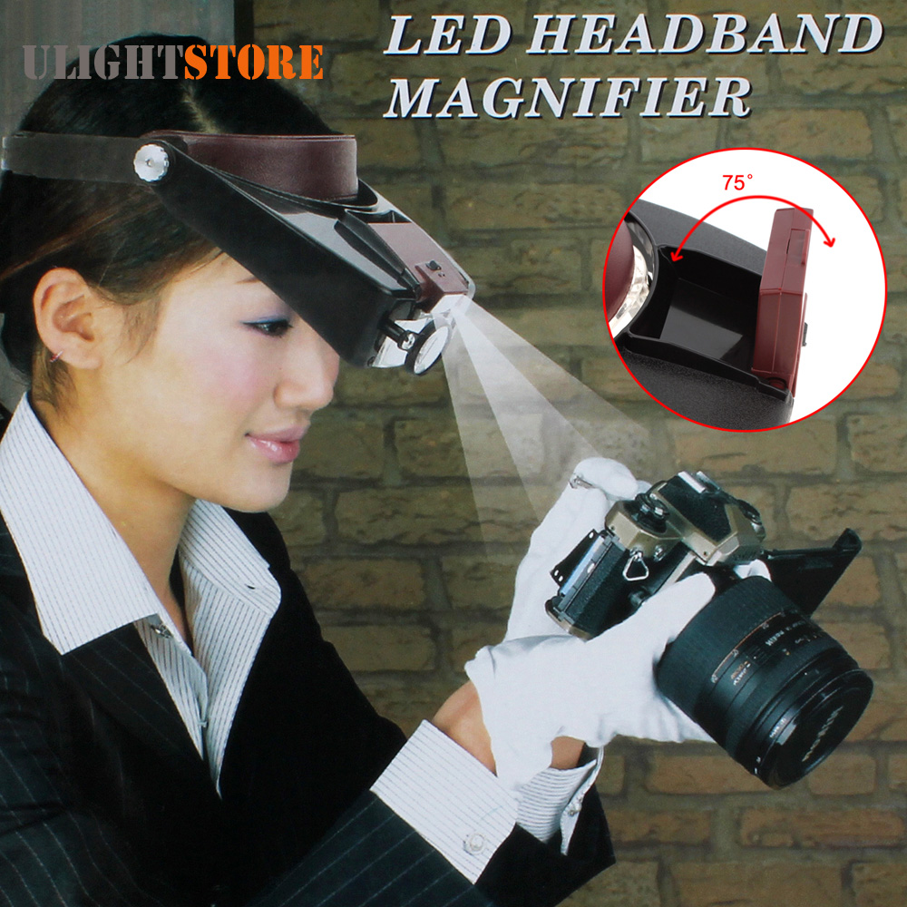 Headband 10X Magnifier Loupe Head Magnifying Glass Lens Jewelry Watch Repair Watchmaker Magnifier with LED Light ootdty 10x handheld magnifier magnifying glass lens loupe 8 led light with money detect