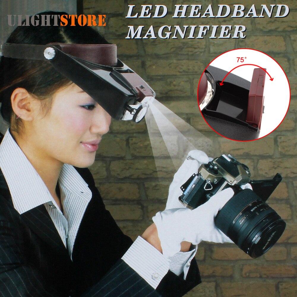 Stirnband 10X Lupe Lupe Kopf Lupe Objektiv Schmuck Uhr Reparatur Uhrmacher Lupe mit LED Licht
