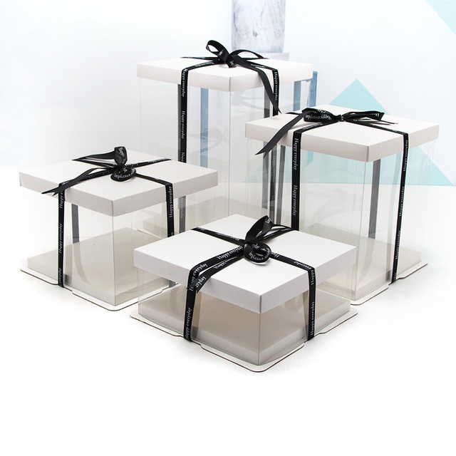 4 16 Inches White Gift Box Simple Transparent Gift Boxes Contracted Cake Box Big Size Rose Bear Box Birthday Party Cake Gaine