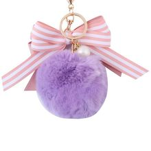 2019 new Womens Keychain Bow Imitation Pearl Hair Ball Pendant Cute Small Bag Car Jewelry Gift llaveros