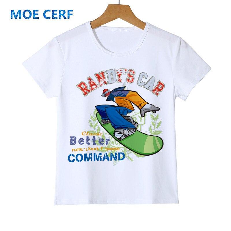 Новая модная летняя Забавный мультфильм скейтборд детская футболка кошка/Олень Дизайн Милая футболка для девочек и мальчиков топы повседн...