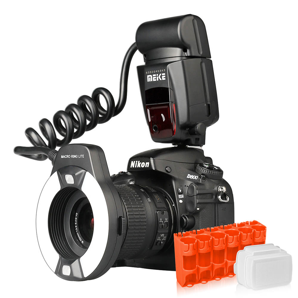 Meike MK-14EXT i-TTL anillo Macro Flash para Nikon D7100 D7000 D5200 D5100 D5000 D3200 D3100 D90 D300S D600 con LED lámpara de ayuda al AF