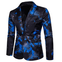 Christmas men's one button suit jacket Gothic fashion personality red blue flame print suit lightning feather performance jacket