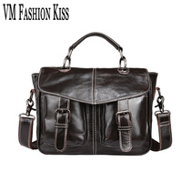 VM FASHION KISS Oil Wax Genuine Leather Men's Classic Retro Briefcase Business Shoulder Bag Laptop Portfolio Messenger Handbags