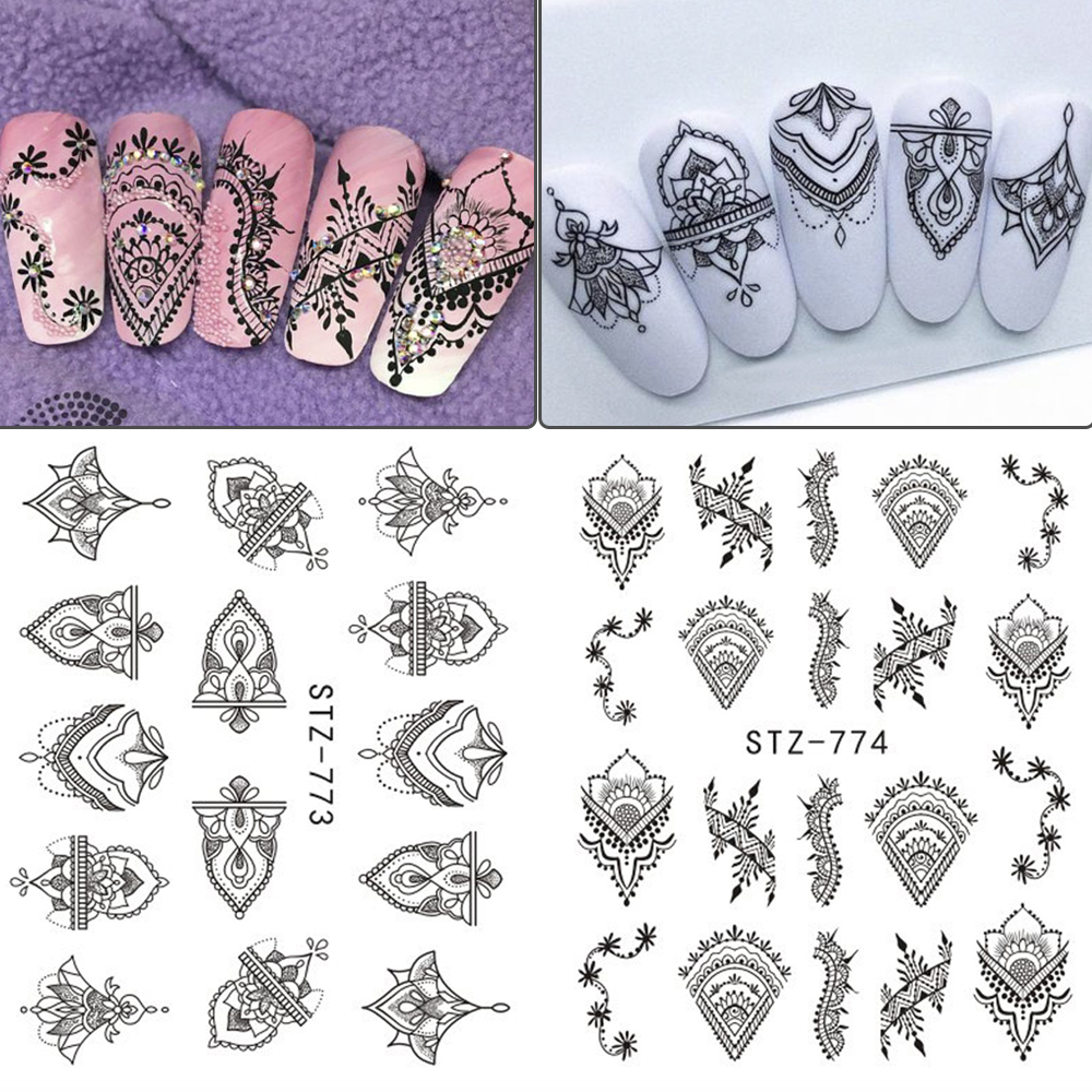 Image 4 - 13pcs/lot Nail Stickers Black Jewelry Nail Decals Flowers Water Transfer Wrap For Nail Art Manicure Accessories TRSTZ766 778 1-in Stickers & Decals from Beauty & Health