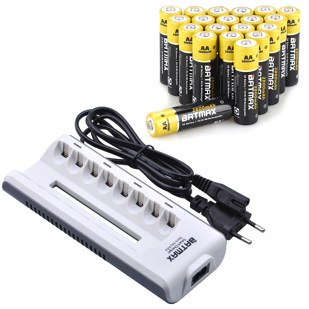 16 Pcs AA Batterie Rechargeable AA NiMH 1.2 V 2800 mAh Ni-MH 2A Pré-chargé Bateria + 8 Slots AA/AAABattery Chargeur Kits pour Caméra