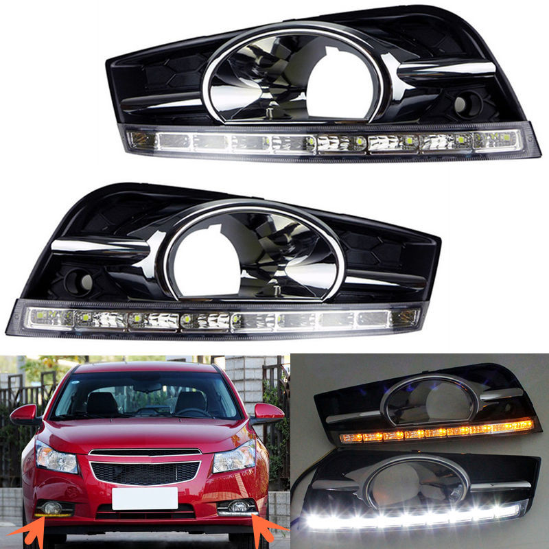 Car LED DRL Light Dimming Daylight LED DRL Daytime Running Light For Chevrolet Cruze 2009 2010 2011 2012 2013 Fog Lamp Case  цены