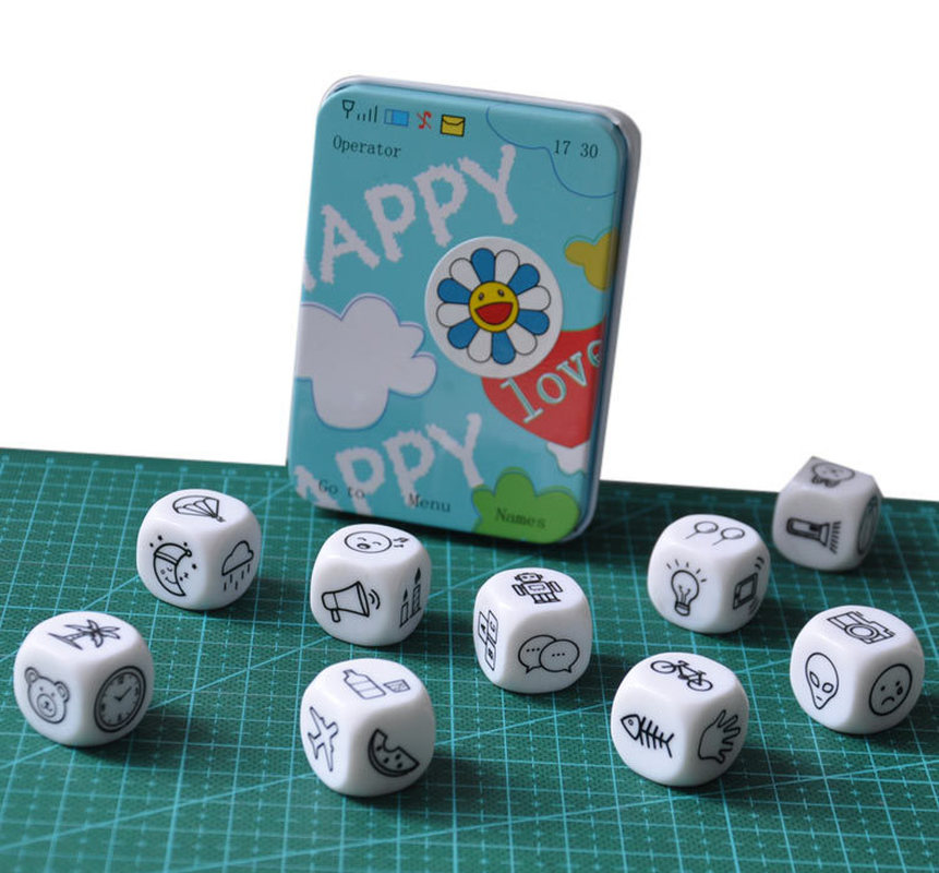 story dice Cube game look picture telling a story cubes with Metal box for family fun party board game Gift For kid