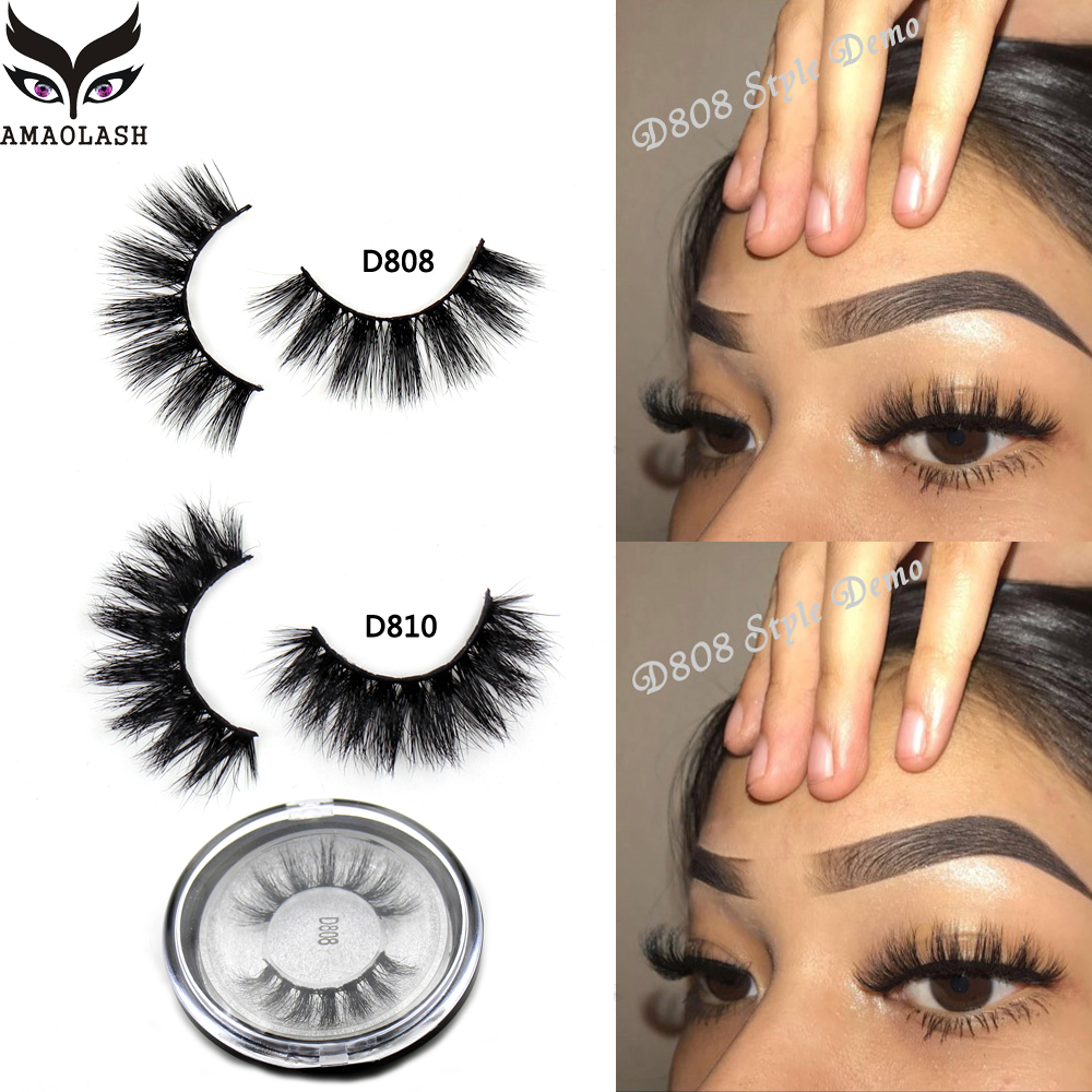 AMAOLASH 3D Mink Lashes Cruelty Free Mink False Eyelashes Natural Handmade Eyelash Extension Makeup Fake Eye Lashes-in False Eyelashes from Beauty & Health