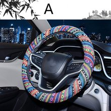 New Car Steering Wheel Cover Linen Flax Auto Steering-Wheel Four Season Ethnic Style Pattern Vehicle