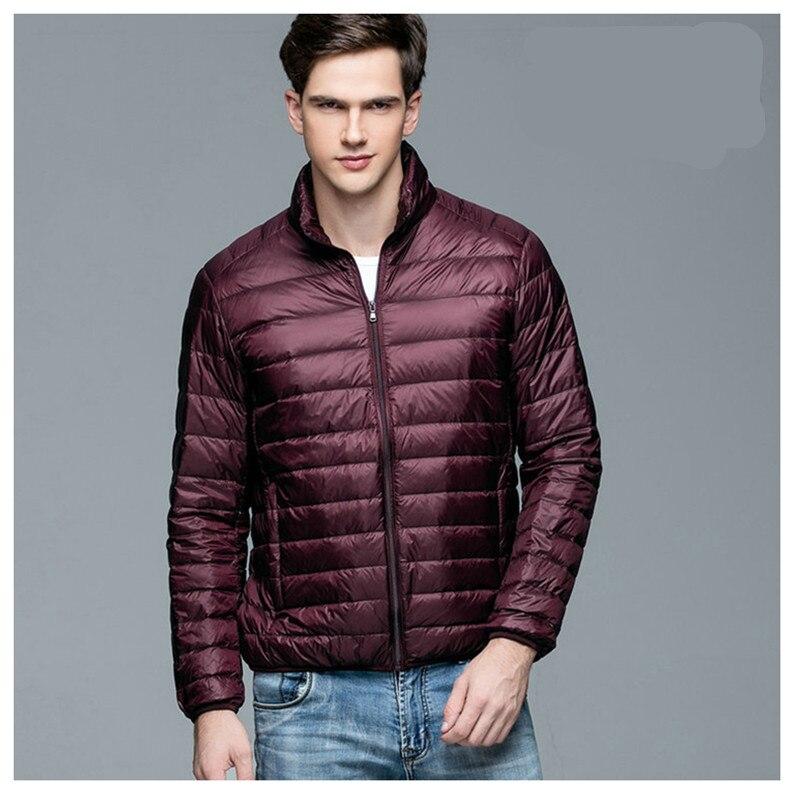 Новое прибытие просто стиль сплошной цвет Повседневная куртка мужчины стоять воротник тонкий Белая куртка с утиным пухом мужская одежда размер S-3XL