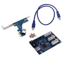 3 en 1 PCI Express PCI E 1X slots Riser Carte PCI-E 1 à 3 Adaptateur D'extension 2 Couche PCB Conseil + 60 cm USB 3.0 Câble pour L'exploitation Minière