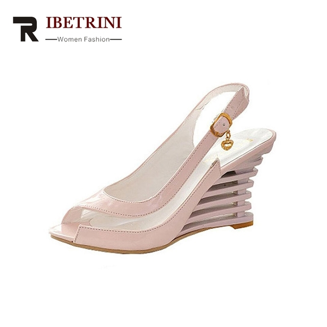 560e0dc9b24 Big Size 34-43 Women Summer Transparent Jelly Shoes Wedges Buckle Up High  Heels Peep Toe Less Platform Sandals Ladies Footwear