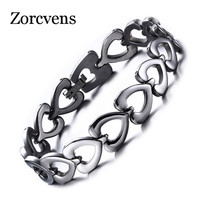 ZORCVENS Heart Women Bracelets Stainless Steel Chain Link