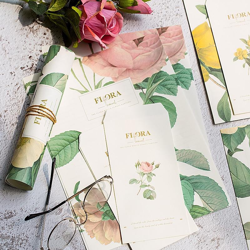 4 Bags (12 Envelopes + 24 Letter Paper) Kawaii Aesthetic Flower Envelope For Invitations Cute Office Stationary Supplies 03247