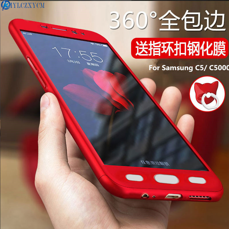 KIYLCZXYCM 360 Case For Samsung Galaxy C5 Case 5.2Hard Shockproof Full Degree Protective case Glass film For Samsung C5 C5000