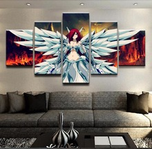 5 Piece Fairy Tail Canvas Print Erza Scarlet Poster Wall Art