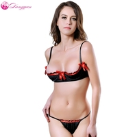 DangYan 2017 New Plus Size Lace Sexy Lingerie Set Open Bra G String Sexy Costume Erotic