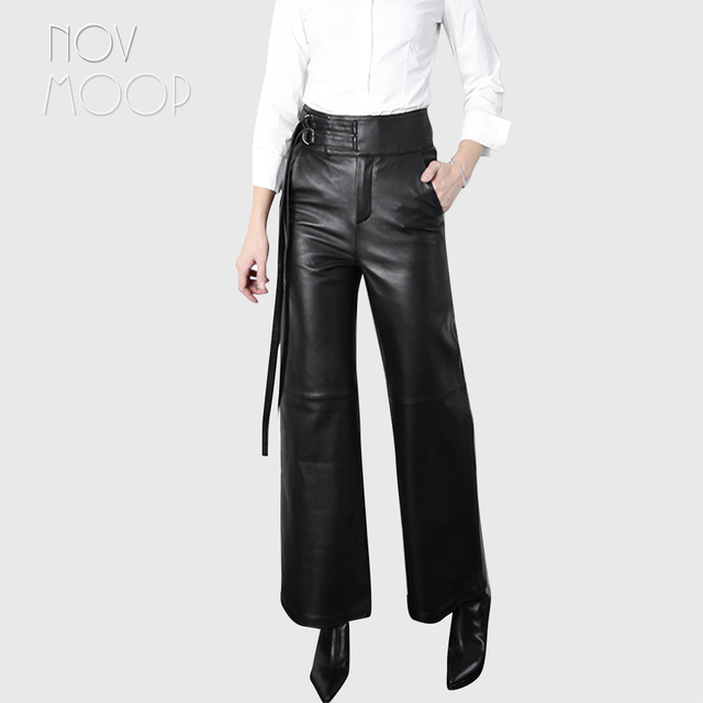 Women black genuine leather real lambskin long high waist wide leg pants trousers strap design broeken ropa pantalones LT2429