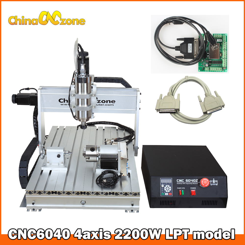 CNC 6040 4axis 2.2kW/1.5KW Engraving Machine CNC Router Woodworking Milling Engraver Water Cooled Spindle LPT CNC Machine eur free tax cnc 6040z frame of engraving and milling machine for diy cnc router