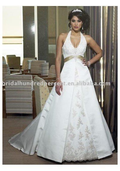 Stain Ey Deep V Neck With Empire Waist Aline Skit Halter Back Wedding Dress