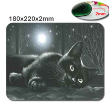 Cat Personalized Rectangle Non-Slip Rubber 3D HD quick printing gaming rubber sturdy pocket book mouse pad dimension 180mmx220mmx2mm