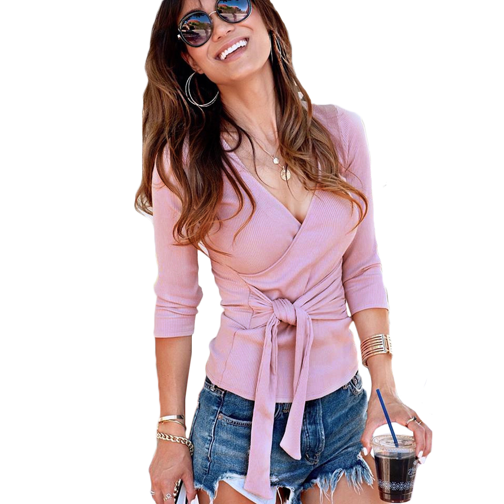 Womens Sweaters Ladies Wrap V-Neck Slim Lace Up Waist Tie Jumper Ribbed Long Sleeve Knit Tops Pullovers Pink Chic Hot Sweaters