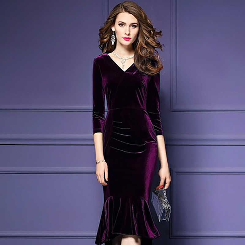 74bf3f1bb2ff ... ALABIFU Spring Summer Dress Women 2019 Vintage Mermaid Velvet Dress Sexy  Bodycon Long Party Dress ukraine ...