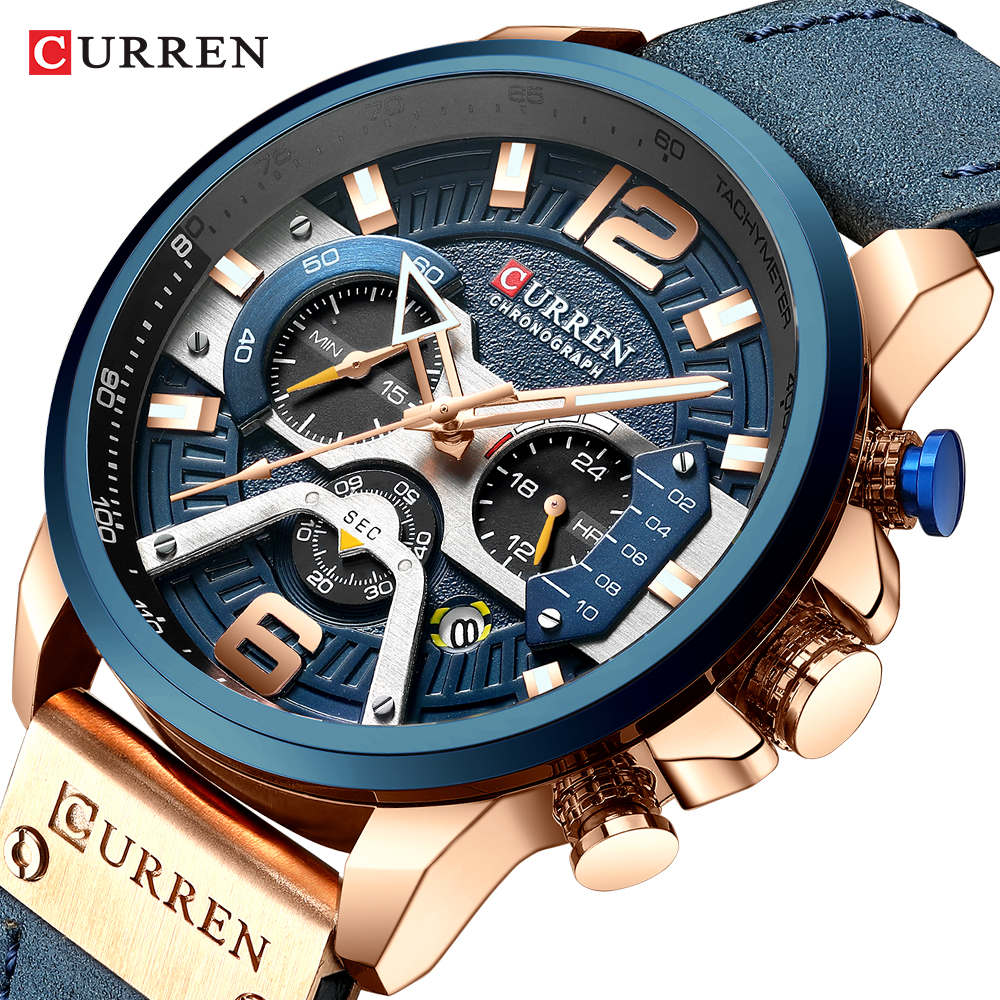 CURREN Casual Sport Watches for Men Blue Top Brand Luxury Military Leather Wrist Watch Man Clock Fashion Chronograph Wristwatch water bottle