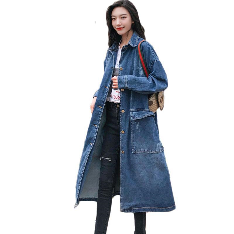 2018 Spring Autumn New Women's Casual Denim   Trench   Coat oversize Single Breasted Retro Washed Cowboy Outwear Loose Clothing A68