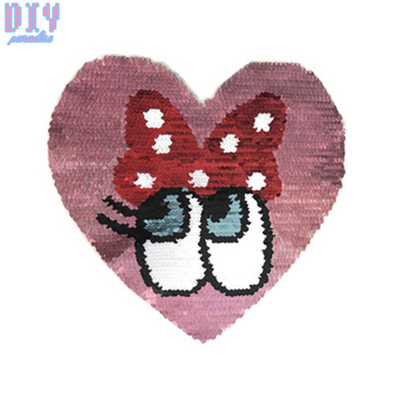 Bow Eyes Reverse Sequins Sew On Patches for clothes Kids T Shirt Cartoon Change color Embroidered Reversible patch