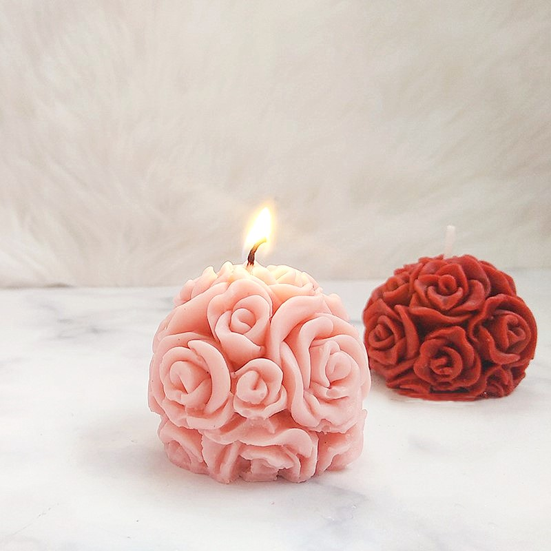 3D Rose Ball Silicone Candle Mold Flower Molds For Plaster Aromatherapy DIY Candle Mould Soap Molds Cake Form Candle Making