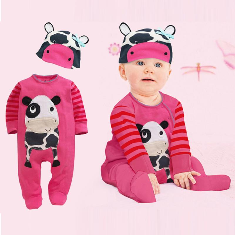 2pcs Baby Romper Clothes Set Autumn Toddler Girl Boy Long Sleeve Cartoon Cow Print Romper+Hat Lovely Infant Jumpsuit Outfits