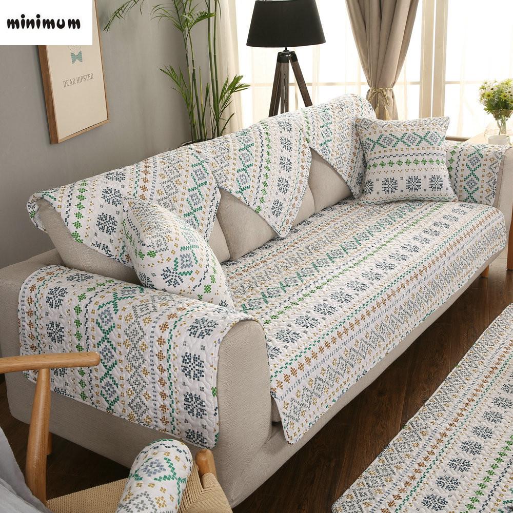 formas geomtricas nrdico algodo tampa do sof sof tapetes quatro estaes universal antislip conjuntos