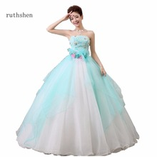 ruthshen Vestidos Ball Gown Quinceanera Dresses Strapless Floor Length Handmade Flower Lace With Beading Pearls Girl Party Dress