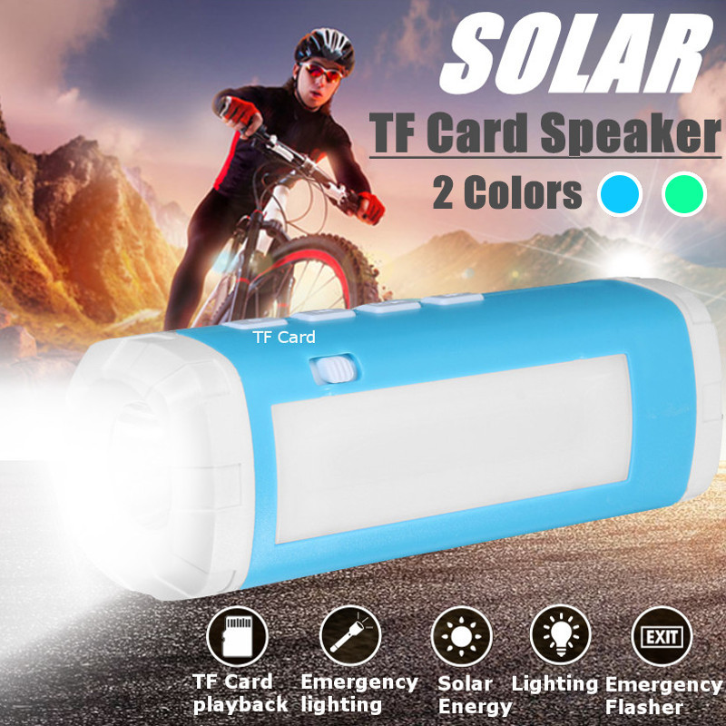 Mising Wireless Solar Powered TF Card Speaker USB LED Speaker Flashlight Lamp Light Outdoor Camping Riding Lantern