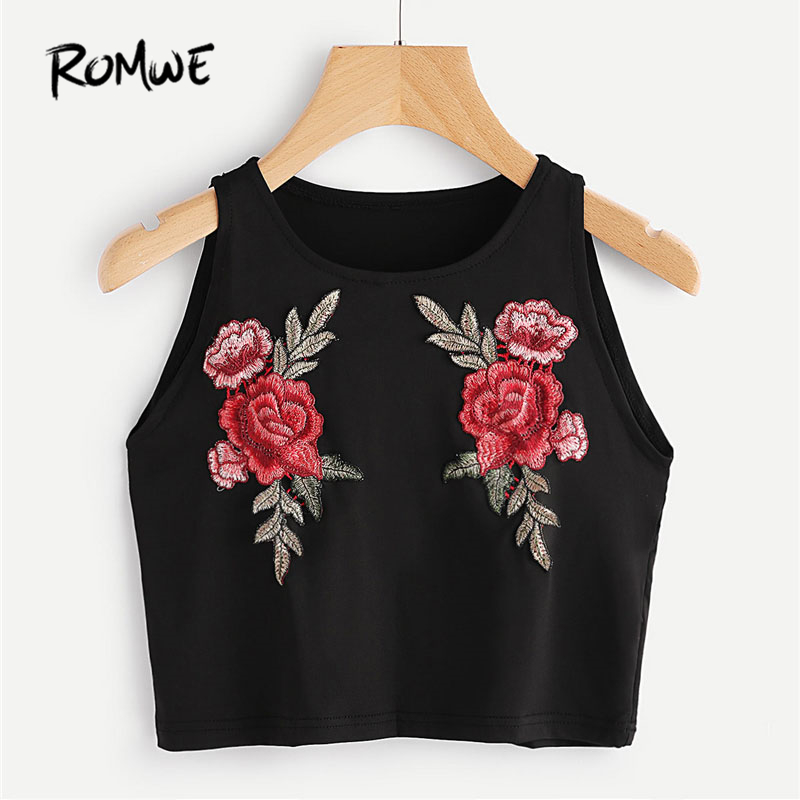 ROMWE Black Embroidered Appliques Crop   Tank     Top   Spring Casual Round Neck Slim Fit Short Vest Women Floral Sexy Party   Top