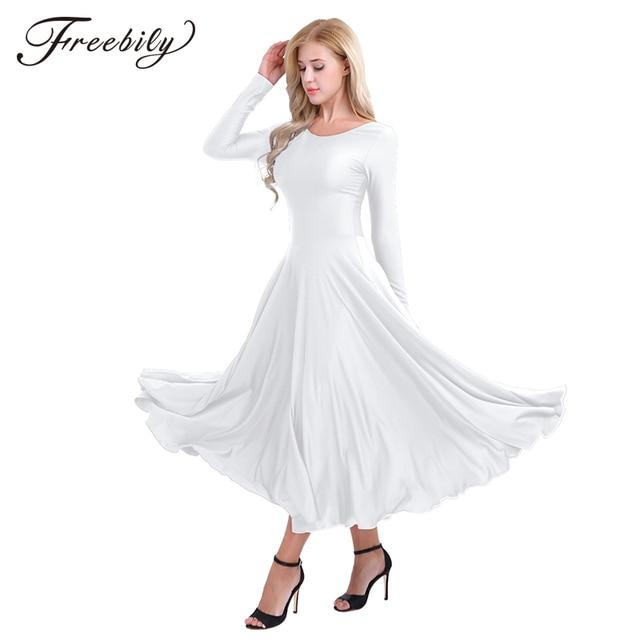 חדש נשים ארוך שרוול מקצועי בלרינה שלב בלט טוטו ריקוד ארוך שמלת Loose Fit עכשווי לירי ריקוד תלבושות