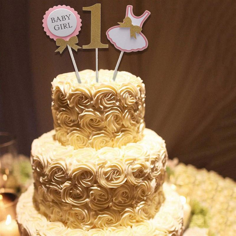 Terrific 3 Pcs Cake Topper Flag Baby Boy Girl 1 Year Old Age Happy Birthday Personalised Birthday Cards Veneteletsinfo