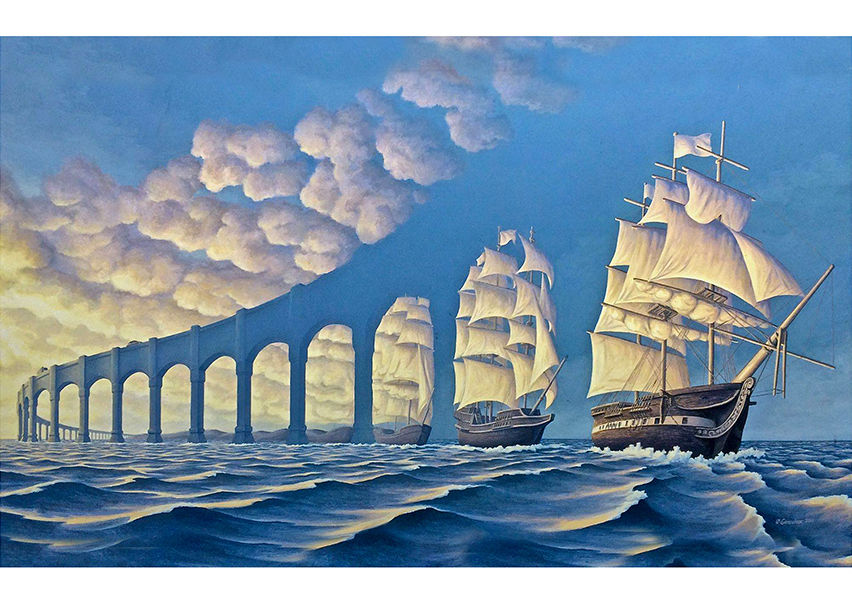 R.G. Optical Illusion Silk Poster Home Decoration Painting Wall Sticker