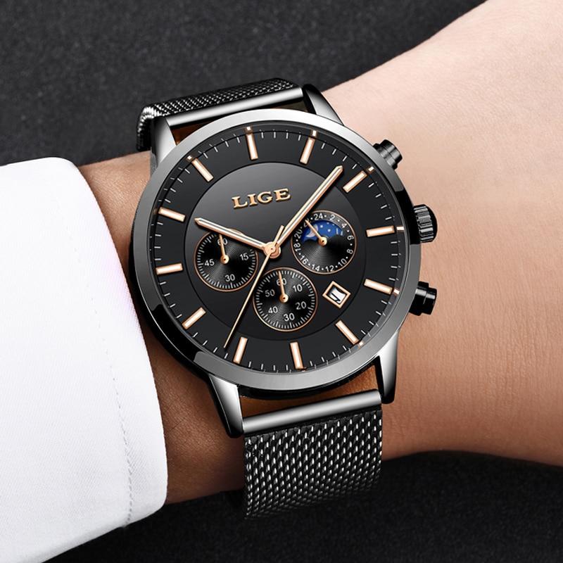 2019 LIGE NEW Mens Watches Top Brand Luxury Men 39 s Military Sport Watch Men Casual Waterproof Quartz Wristwatch Relogio Masculino in Quartz Watches from Watches